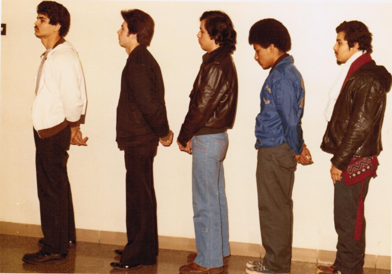 Fernie Zayas (second from right) in a line-up for the triple murder on Catalpa Street in Chicago. (See Excerpt 2) (Courtesy of Bill O'Brien)