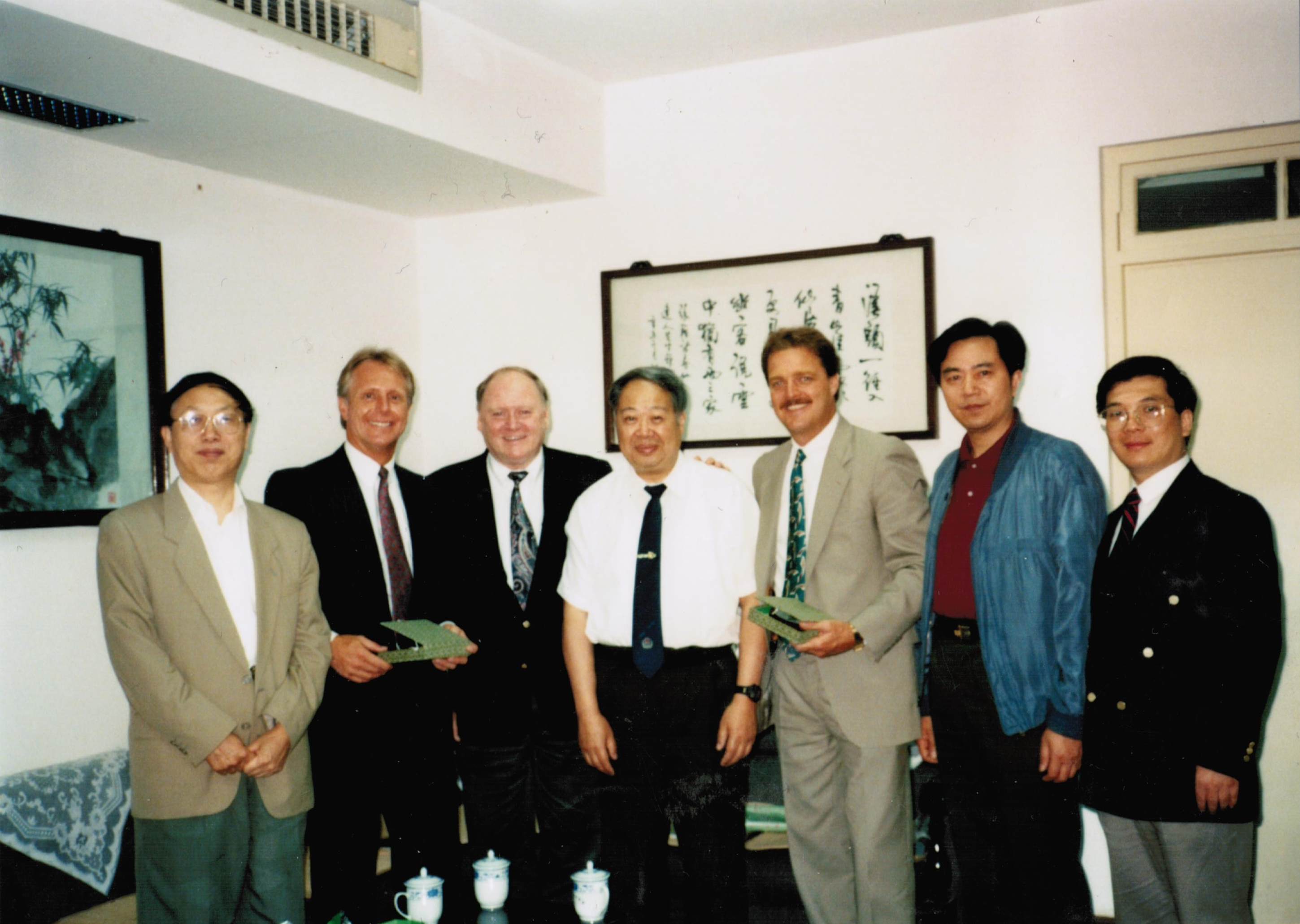 Receiving an award in Shanghai, China (third from right).