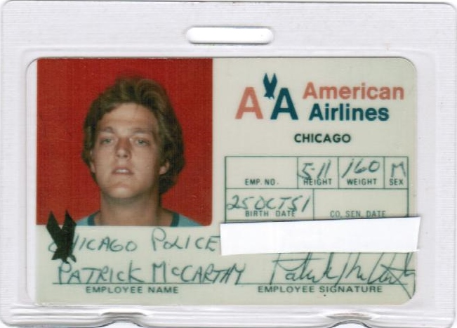 American Airlines I.D. Card that was issued to me to gain access to O'Hare Airport while working on identifying the crash victims of American Airlines Flight #191. (See Excerpt 1)